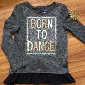 Black & Gold sparkle Born to Dance Top with Ruffle
